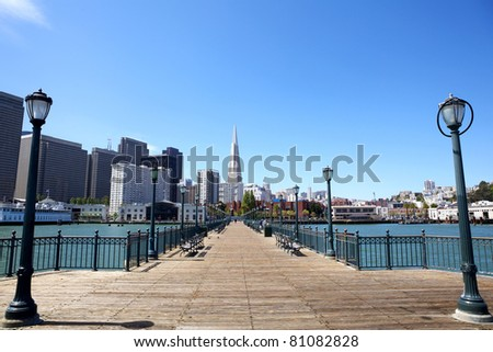 San Francisco financial district from pier, USA - stock photo