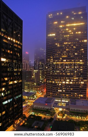 San Francisco Financial District Misted Over at Night