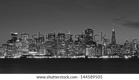 San Francisco Financial District Skyline at Night From Across the Bay in Black and White