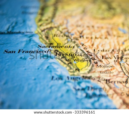 San Francisco, Fresno, Sacramento California map part of a world globe - stock photo