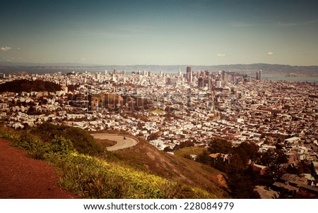 San Francisco from the Twin Peaks viewpoint - stock photo
