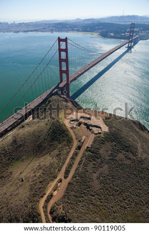 San Francisco Golden Gate Bridge and Battery Spencer aerial view - stock photo