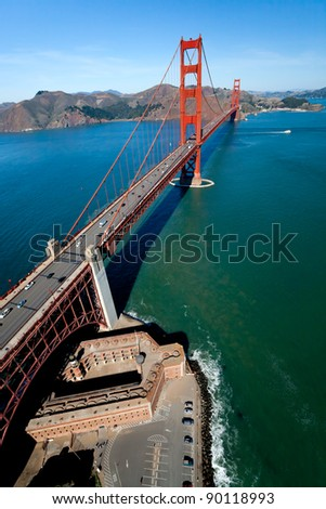 San Francisco Golden Gate Bridge and Fort Point aerial view