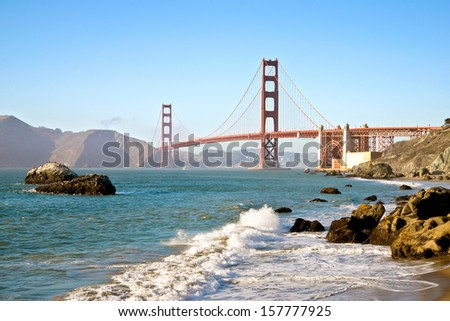 San Francisco Golden Gate Bridge Pacific Ocean Waves