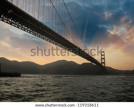 San Francisco Golden Gate Bridge Silhouette at Sunset, U.S.A. - stock photo