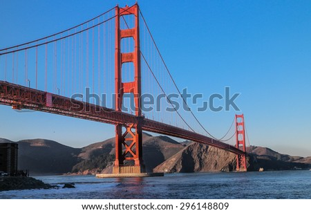 San Francisco Golden Gate Bridge View from Beneath - stock photo