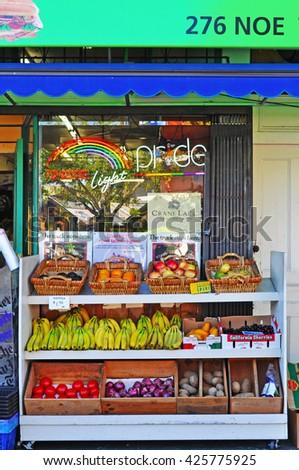 San Francisco: greengrocer in Castro neighborhood on June 15, 2010 - stock photo