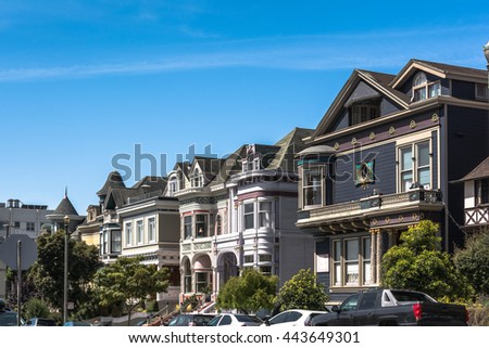San Francisco houses, California San Francisco,California,USA - June 23, 2014 : Victorian houses in Scott Street