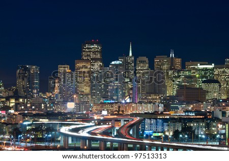 San Francisco. Image of San Francisco skyline and busy highway leading to the city. - stock photo