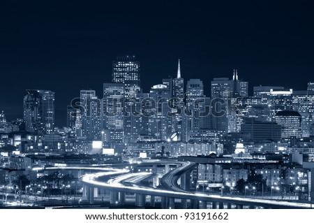 San Francisco. Image of San Francisco skyline at night. - stock photo