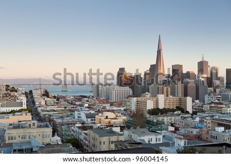 San Francisco. Image of San Francisco skyline at sunset. - stock photo