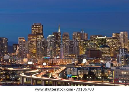 San Francisco. Image of San Francisco skyline at twilight. - stock photo
