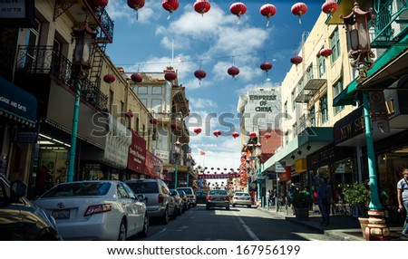 SAN FRANCISCO - JULY 27:  Daytime at Chinatown on Juky 27, 2012 in San Francisco, USA. San Francisco's Chinatown is one of North America's largest Chinatowns.  - stock photo