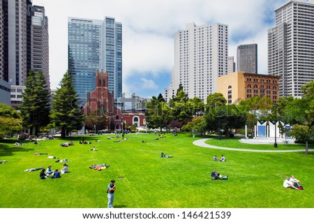 SAN FRANCISCO-JULY 30: Yerba Buena Gardens park on July 30, 2009 in downtown San Francisco. The 87-acre public space has won awards as a model of mixed-use development and urban reclamation. - stock photo