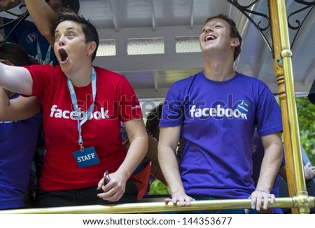 SAN FRANCISCO JUNE 30 : Facebook CEO Mark Zuckerberg Marched With 700 Facebook Employees In San Francisco's Gay Pride Parade on June 30 2013