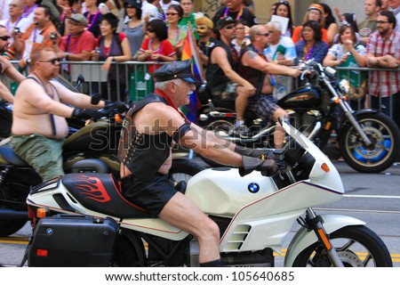 SAN FRANCISCO - JUNE 28: San Francisco Gay Pride Parade 2009. It is one of the largest gathering of LGBT people and allies in the USA. June 28, 2009 in San Francisco - stock photo