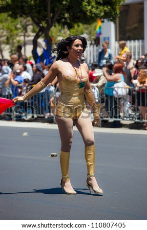 SAN FRANCISCO - JUNE 24: San Francisco Gay Pride Parade 2012. It is one of the largest gathering of LGBT people and allies in the USA on June 24, 2012 in San Francisco, CA - stock photo