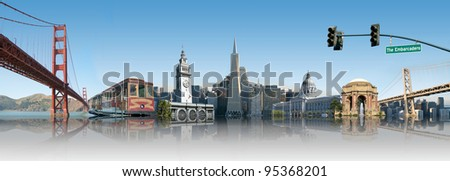 San Francisco Landmark Skyline Montage - stock photo