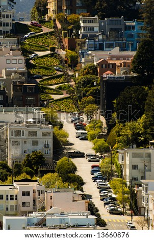 San francisco Lombard Street - the twistiest street in America - stock photo