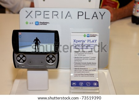 SAN FRANCISCO - MARCH 2: Sony Ericsson showing its Xperia Play Phone (previously known as PSP Phone) at GDC in San Francisco on 2nd March 2011 - stock photo