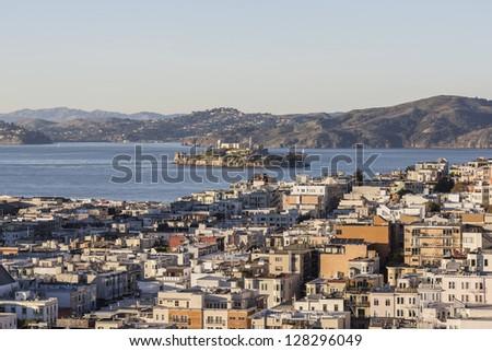 San Francisco Marina District and Alcatraz Island National Park - stock photo