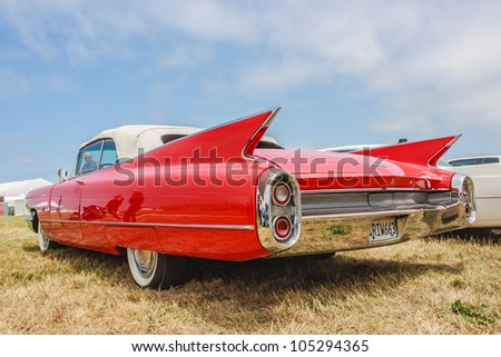 SAN FRANCISCO - MAY 27: A 1960 Cadillac Eldorado Biarritz Convertible is on display during the Golden Gate Bridge 75th Anniversary in San Francisco on May 27, 2012 - stock photo