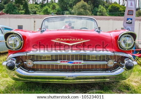 SAN FRANCISCO - MAY 27: A 1957 Chevrolet Bel Air Convertible is on display during the Golden Gate Bridge 75th Anniversary in San Francisco on May 27, 2012 - stock photo