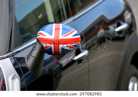 SAN FRANCISCO - MAY 15 2015:British flag on Mini.It's a British automotive marque owned by BMW.Mini was iconic British small cars manufactured by the British Motor Corporation from 1959 until 2000. - stock photo