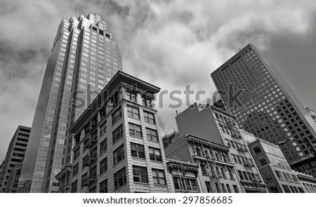 SAN FRANCISCO - MAY 20 2015:Buildings in San Francisco downtown. Median rent in the city is more than $1,463 per month. That's higher than every other major city in the U.S. - stock photo