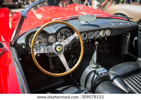 SAN FRANCISCO - MAY 21: Interior of 1958 Ferrari California Spider in San Francisco on May  21, 2015