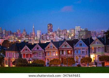 San Francisco night view from Painted Ladies - stock photo