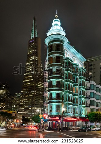 SAN FRANCISCO - NOVEMBER 13, 2014: The old Victorian house in San Francisco, USA. In San Francisco can be seen big contrast between modern architecture and old architecture from Victorian era. - stock photo