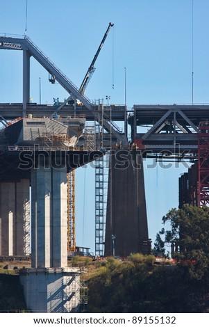 San Francisco Oakland Bay Bridge during construction of the east span - stock photo