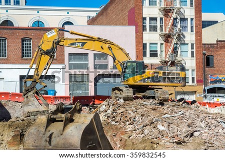 SAN FRANCISCO: October 19 2015 - Old building is being demolished in San Francisco, CA - stock photo