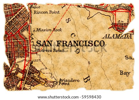 San Francisco on an old torn map from 1949, isolated. Part of the old map series. - stock photo