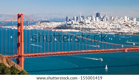 San Francisco Panorama and Golden Gate Bridge - stock photo