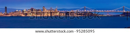 San Francisco panorama at night - stock photo