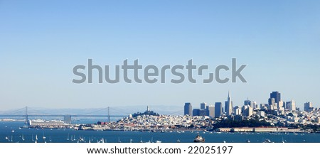 San Francisco Panorama from the Bay Bridge to Downtown - stock photo