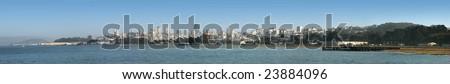 San Francisco Panorama from Treasure Island to Park Presidio - stock photo