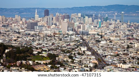 San Francisco Panorama Seen from Twin Peaks. - stock photo