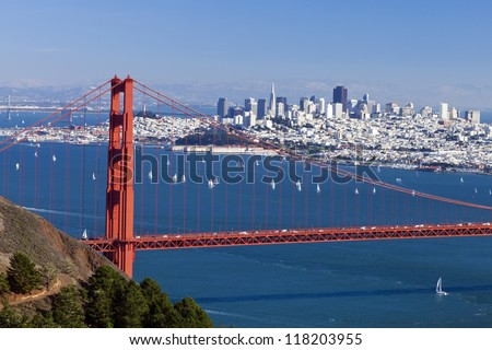 San Francisco Panorama w Golden gate bridge from San Francisco Bay - stock photo