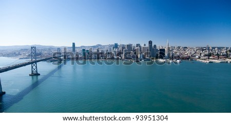 San Francisco Panorama with Bay bridge - stock photo