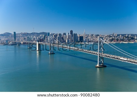 San Francisco Panorama with Bay bridge aerial view - stock photo