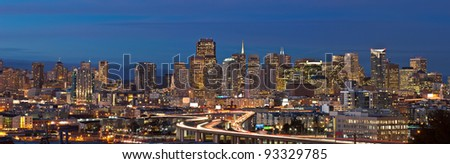 San Francisco. Panoramic image of San Francisco skyline at twilight.