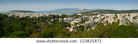 San Francisco Richmond District Panorama from Golden Gate Park - stock photo