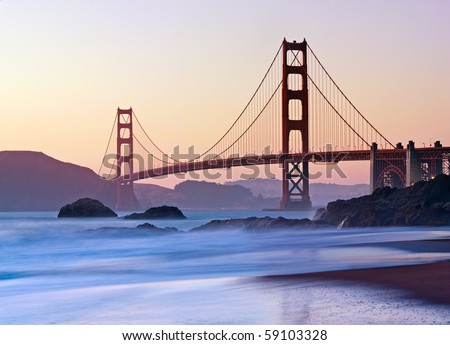 San Francisco's Golden Gate Bridge at Dusk - stock photo