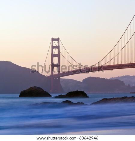 San Francisco's Golden Gate Bridge at Dusk - stock photo