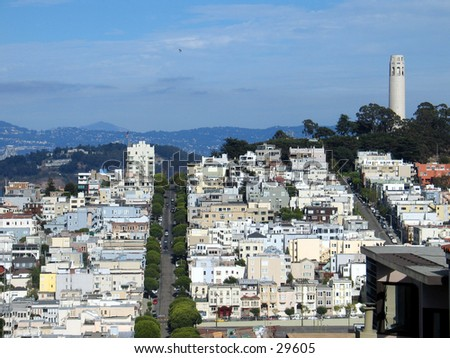 San Francisco's hills, from top of Lombard Street - stock photo