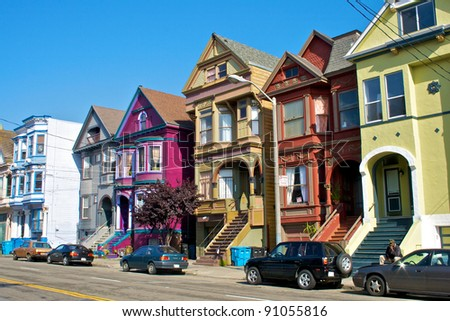 San Francisco´s Victorian Houses in beautiful colors - stock photo
