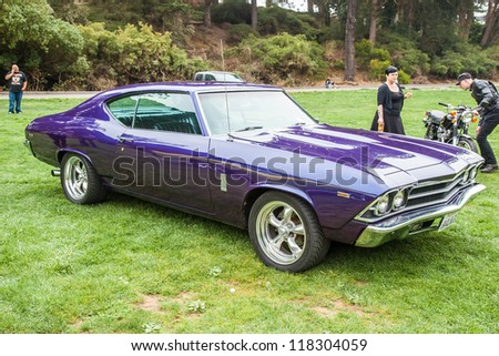 SAN FRANCISCO - SEPTEMBER 29: A 1969 Chevrolet Chevelle 300 Deluxe is on display during the 2012 Jimmy's Old Car Picnic in Golden Gate Park in San Francisco on September 29, 2012 - stock photo